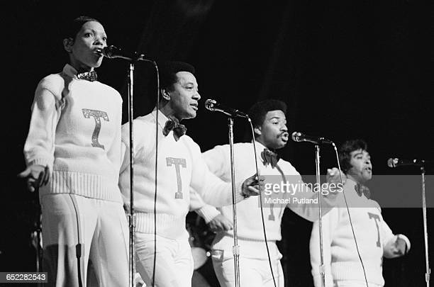 American doo wop group The Teenagers performing at at Radio City Music Hall New York 1981 Left to right Pearl McKinnon Jimmy Merchant Eric Ward and...