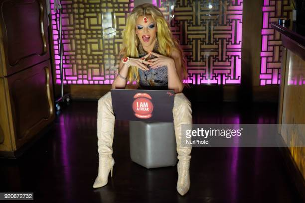 American drag artist Willam Belli poses for the press before his drag show at hotel The Lalit's nightclub 'Kitty Su' in New Delhi on 17th February,...