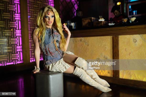American drag artist Willam Belli poses for the press before his drag show at hotel The Lalit's nightclub 'Kitty Su' in New Delhi on 17th February...