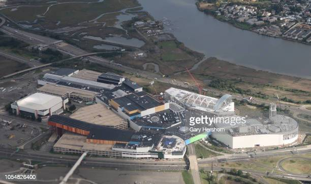 American Dream Meadowlands a retail and entertainment complex under construction in the Meadowlands Sports Complex is seen on October 13 2018 from an...