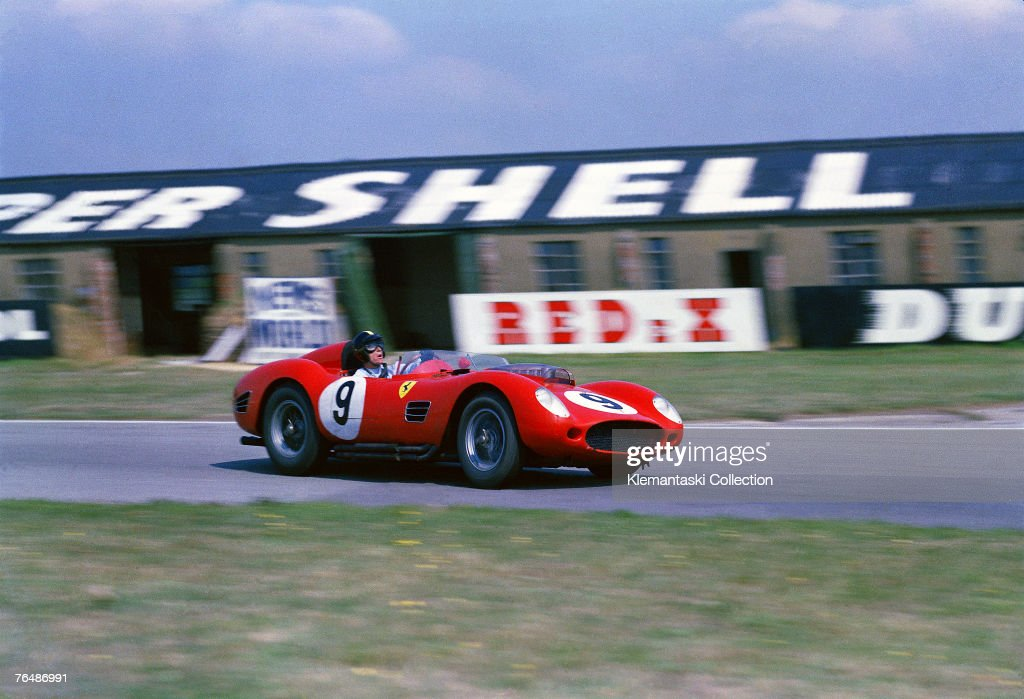American driver Dan Gurney during the Tourist Trophy Race; at Goodwood in the Ferrari 250TR which he shared with Tony Brooks, 5th September 1959. Gurney brought the car to fifth position. Brooks meanwhile had taken over the Gendebien/Allison car and just missed second place by two seconds (after six hours!), due in part to a mistake in lap-counting by the Ferrari pits. Had he succeeded, Ferrari would have defeated Aston Martin for the sports car World Championship.