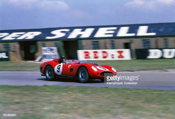 American driver Dan Gurney during the Tourist Trophy Race at Goodwood in the Ferrari 250TR which he shared with Tony Brooks 5th September 1959 Gurney...