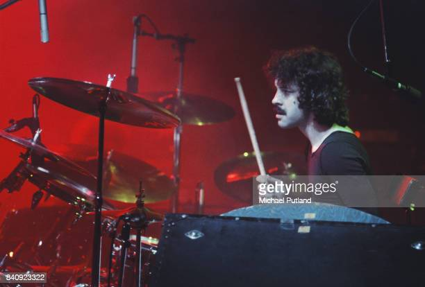 American drummer Albert Bouchard performs with american rock band Blue Oyster Club 1977