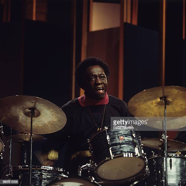 American drummer Art Blakey performs on the BBC television show 'Jazz at the Maltings' filmed on December 27 1968