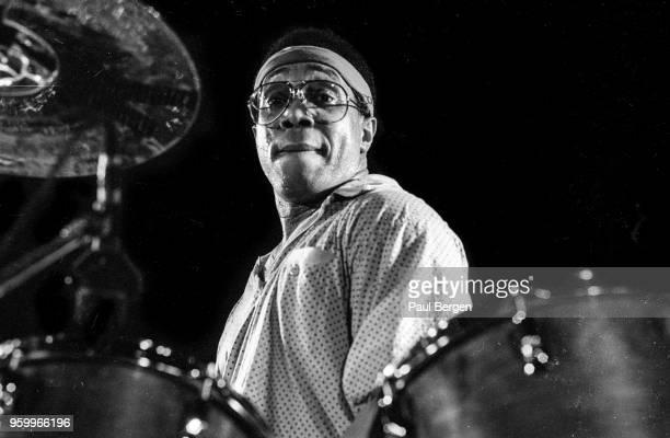 American drummer Billy Cobham performs at De Boerderij, Zoetermeer, Netherlands, 22nd October 1987.