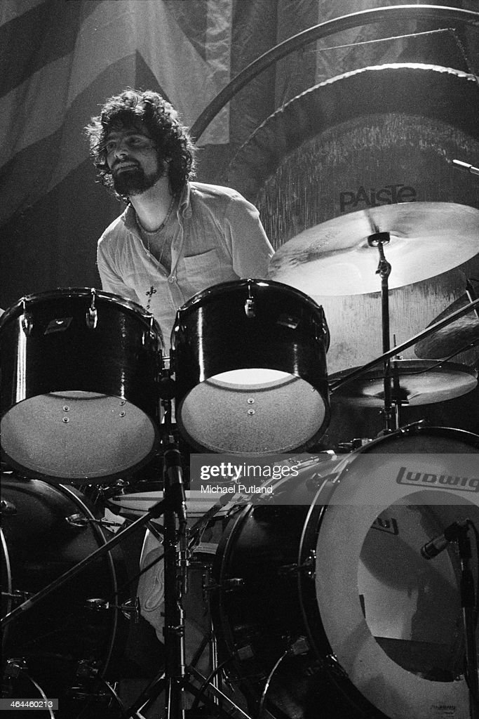 American drummer Carmine Appice performing with hard rock supergroup Beck, Bogert & Appice at the Rainbow Theatre, London, 16th January 1974.