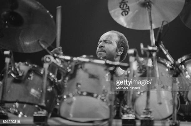 American drummer Chester Thompson performing with English rock group Genesis at the Rosemont Horizon Rosemont Illinois during the band's Invisible...