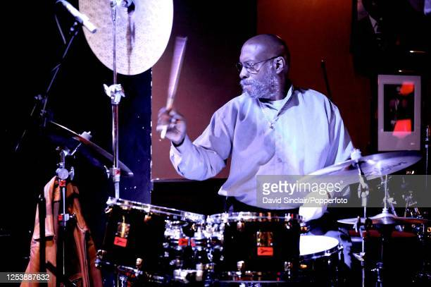 American drummer Eric Gravatt performs live on stage at Ronnie Scott's Jazz Club in Soho London on 31st May 2008
