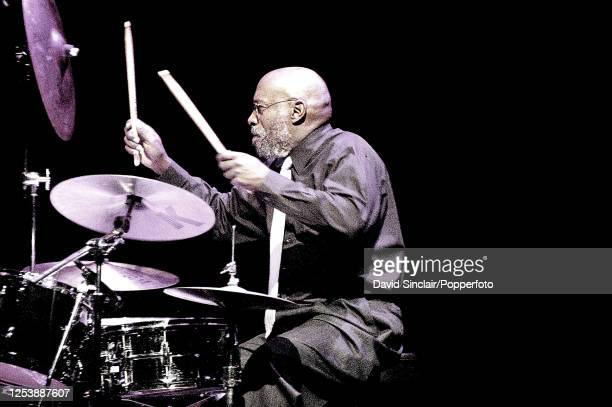 American drummer Eric Gravatt performs live on stage at the Barbican in London on 14th November 2005