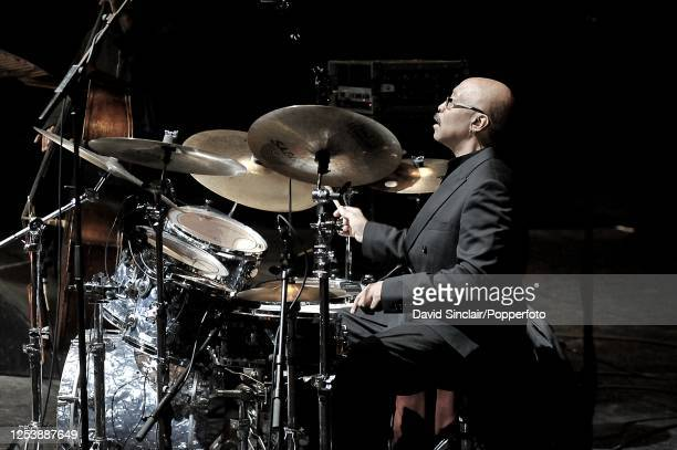 American drummer George Gray performs live on stage at the Barbican in London on 30th March 2010
