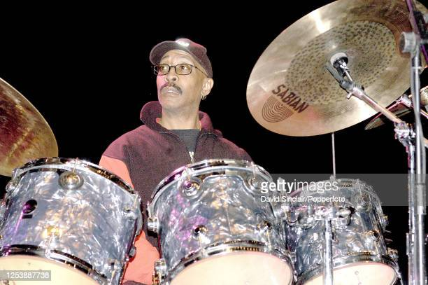 American drummer George Gray performs live on stage at the Royal Festival Hall in London on 25th October 2003