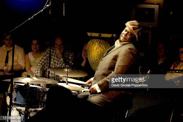 American drummer Jonathan Blake performs live on stage at Ronnie Scott's Jazz Club in Soho London on 10th February 2011
