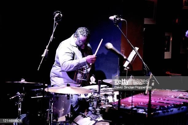 American drummer Jonathan Blake performs live on stage at Ronnie Scott's Jazz Club in Soho London on 7th July 2008