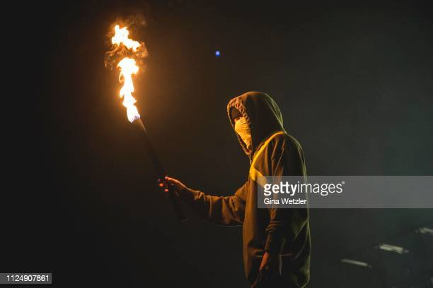 American drummer Joshua William Dun aka Josh Dun from Twenty One Pilots performs live on stage during a concert at MercedesBenz Arena on February 14...