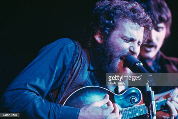 American drummer singer and multiinstrumentalist Levon Helm performing with The Band at the Fillmore East New York 9th May 1969 On the right is...