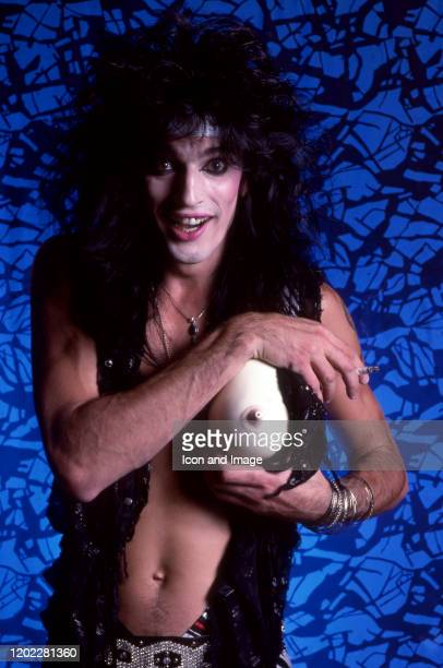 American drummer Tommy Lee of the American hard rock band Motley Crue poses for a studio portrait during the Theater of Pain Tour on September 15 at...