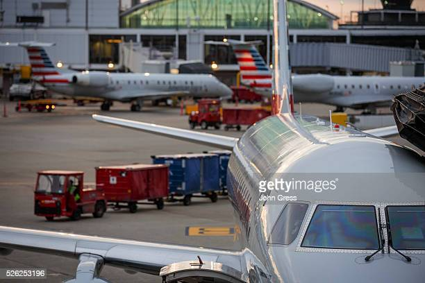 American Eagle Airlines planes prepare for takeoff at Chicago's O'Hare International Airport on Christmas day December 25 2015