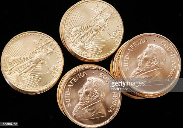 American Eagle and South African Krugerrand gold bullion is offered for sale at the Chicago Coin Company May 11, 2006 in Chicago, Illinois....