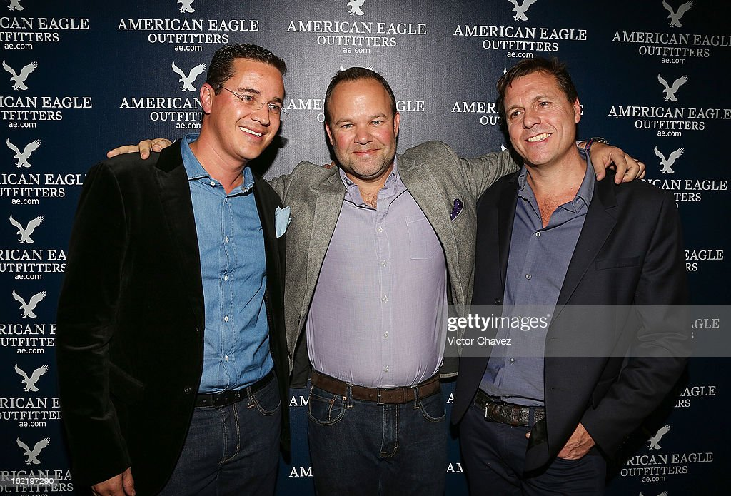 American Eagle Mexico director Miguel Ángel Flores, Chief Marketing Officer at American Eagle Outfitters Michael Leedy and VP International Franchising & Global Business Developments at American Eagle Outfitters Simon Nankervis attend the opening of the American Eagle Mexico City store at Centro Comercial Perisur on February 19, 2013 in Mexico City, Mexico.