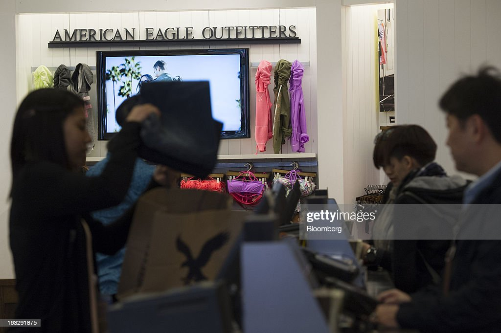 American Eagle Outfitters Inc Signage Is Displayed On A Wall Inside Store In San
