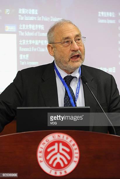"American economist and a 2001 recipient of the Nobel Memorial Prize in Economics Sciences Joseph Eugene Stiglitz attends the ""Financial Regulation..."