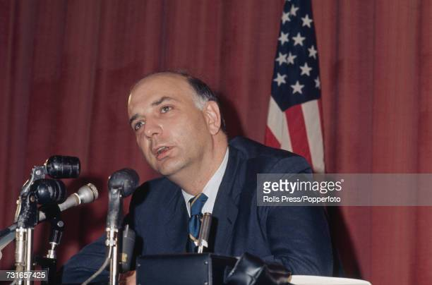 American economist and undersecretary of the Treasury for international monetary affairs Paul Volcker addresses a press conference at the United...