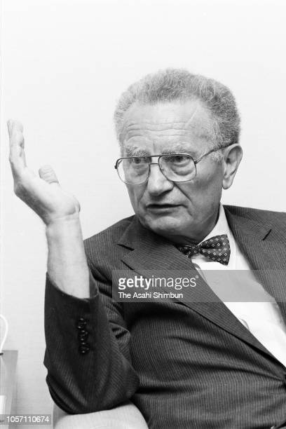 American Economist Paul Samuelson speaks during the Asahi Shimbun interview on August 31, 1984 in Tokyo, Japan.