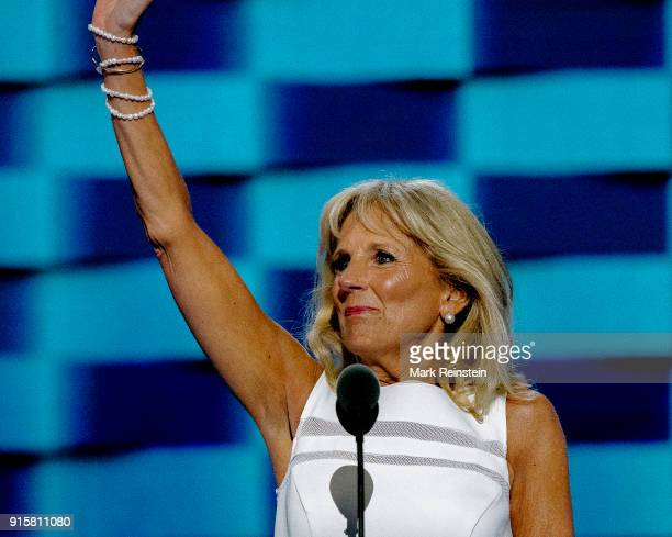 American educator Dr Jill Biden waves from the podium during the Democratic National Convention at the Wells Fargo Arena Philadelphia Pennsylvania...