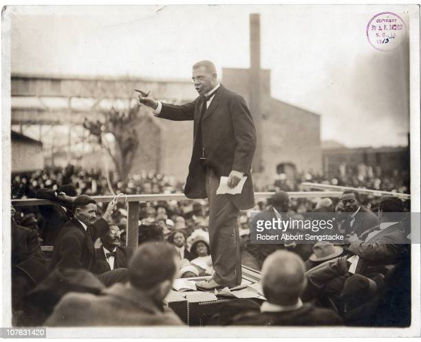 View of Booker T Washington as the African American educator and industrialist speaks to a large crowd during his last pilgrimage in Louisiana during...