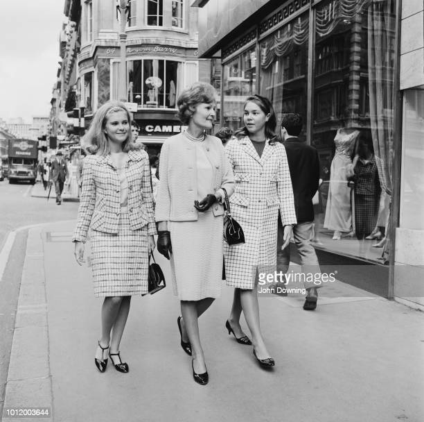 American educator Pat Nixon with her daughters Tricia and Julie shopping in London UK 26th July 1966