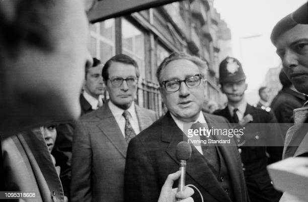 American elder statesman, political scientist, diplomat, and geopolitical consultant Henry Kissinger interviewed by the press while in London, UK,...