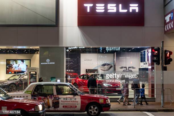 American electric company car, Tesla Motors official authorized car dealer store seen in Hong Kong.