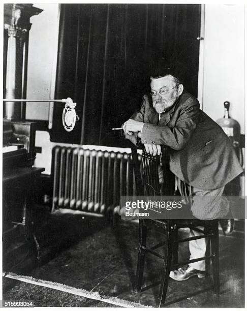 American electrical engineer Charles Proteus Steinmetz experimenting with microphone Undated photograph