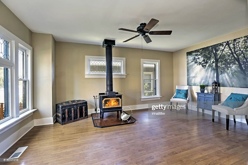 American empty living room interior in old style : Stock Photo
