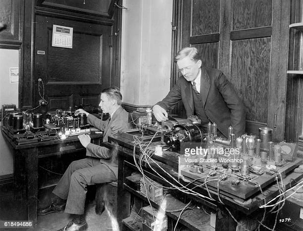 American engineer and inventor Richard H Ranger and his assistant 19yearold Alfred J Koenig conduct test of his photoradiogram transmitter and...