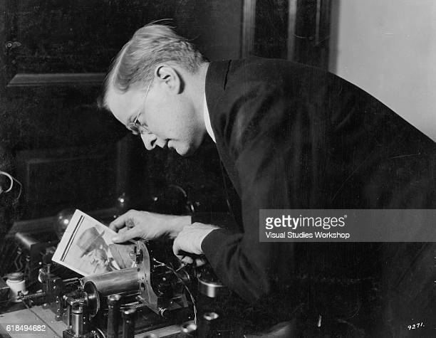 American engineer and inventor Richard H Ranger receives a photoradiogram on his invention New York New York May 1924