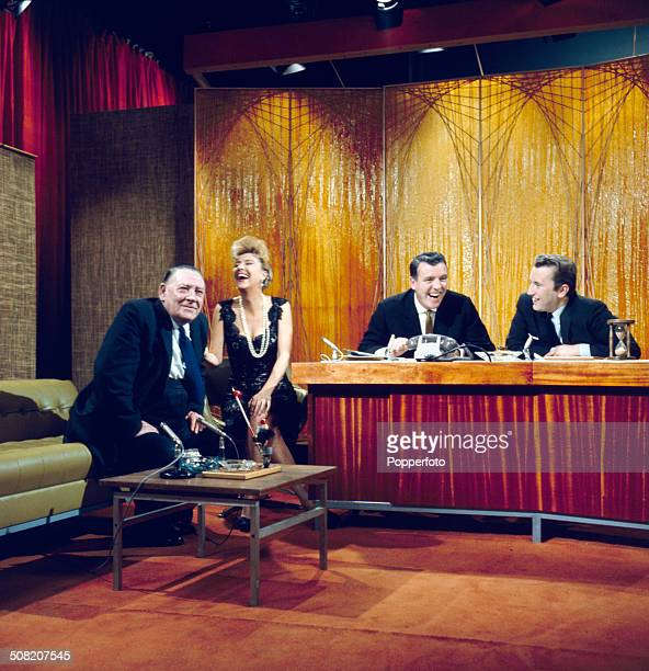 American entertainer Gypsy Rose Lee appears with David Frost trade unionist Ted Hill and chat show host Eamonn Andrews on the set of the television...