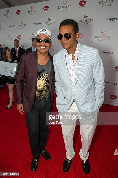 American entertainers singers dancers Marlon Jackson and Jackie Jackson attends the 140th Kentucky Derby at Churchill Downs on May 3 2014 in...