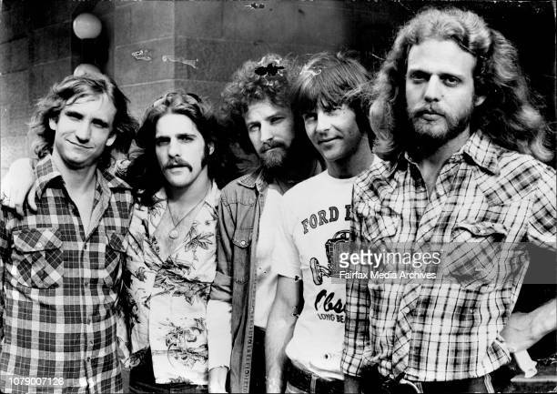 American entertainers The Eagles pictured at their press conference at the Sebel Town HouseLeft to Right Joe Walsh guitar Glenn Frey guitar piano...