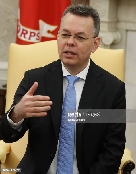 American evangelical Christian preacher Andrew Brunson speaks after being welcomed by US President Donald Trump in the Oval Office a day after he was...