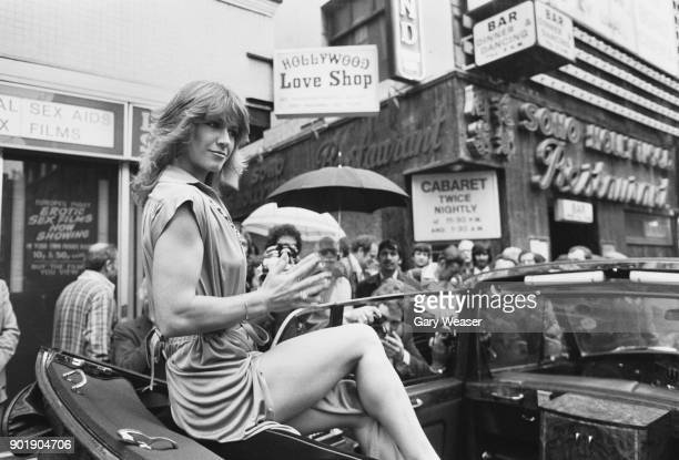 American exotic actress Marilyn Chambers in London 19th September 1979 She will be appearing on stage at the Raymond Revuebar in 'Sex Confessions' a...