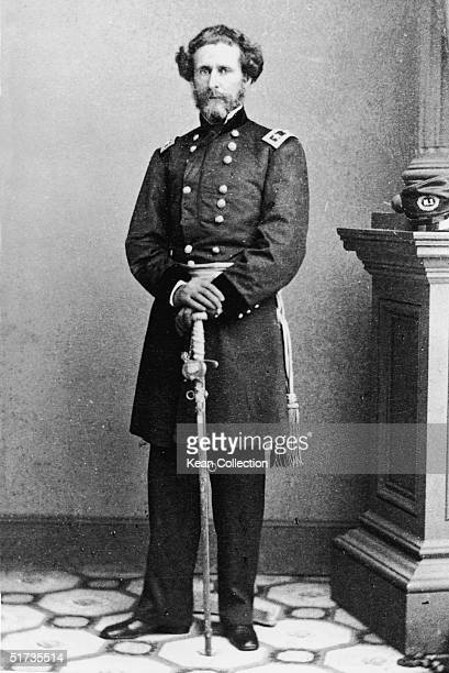 American explorer and stateman Major General John Charles Fremont general for the Union Army during the US Civil War poses in his uniform with his...