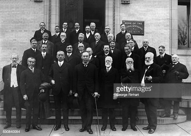 American explorer Robert Peary in group photo with National Geographic Society Roald Amundsen is at Peary's right American inventor Alexander Graham...