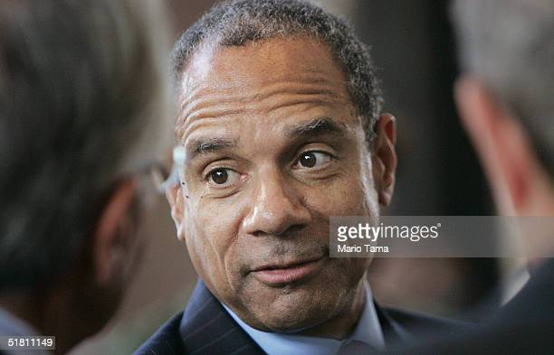 American Express Chairman and CEO Kenneth Chenault chats prior to a press conference announcing the formation of the Board of Directors for the World...