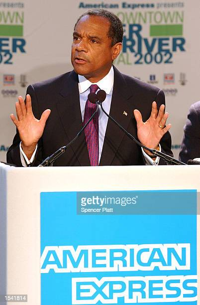 American Express Chairman and CEO Kenneth Chenault speaks May 13 2002 during a homecoming ceremony for American Express at the company's world...