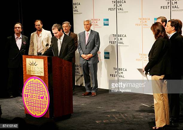 American Express Chief Marketing Officer John Hayes speaks to the press at the Fifth Annual Tribeca Film Festival opening press conference at Tribeca...