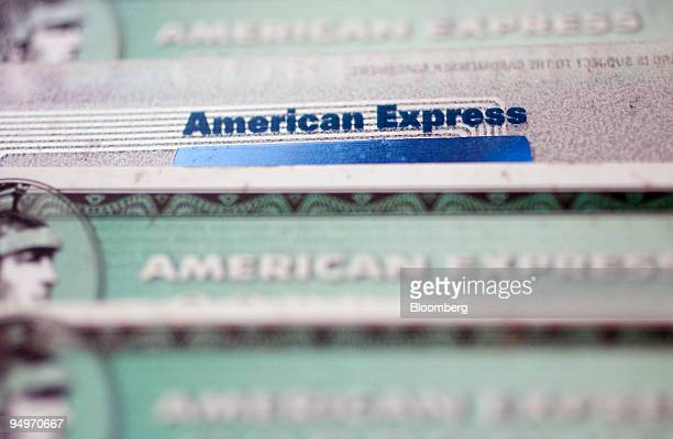 American Express credit cards are arranged for a photograph in New York US on Thursday July 30 2009 American Express Co the biggest US creditcard...