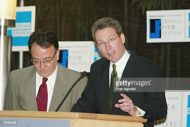 American Express Executive VP John Hayes speaks at the Tribeca Film Festival 2003 opening day press conference at the Embassy Suites Hotel May 6 2003...