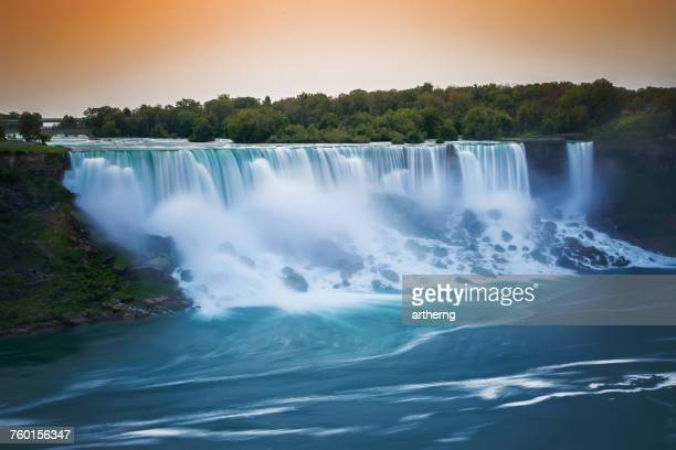american falls and bridal veil falls at sunrise, niagara falls, new york, america, usa - niagara falls stock pictures, royalty-free photos & images
