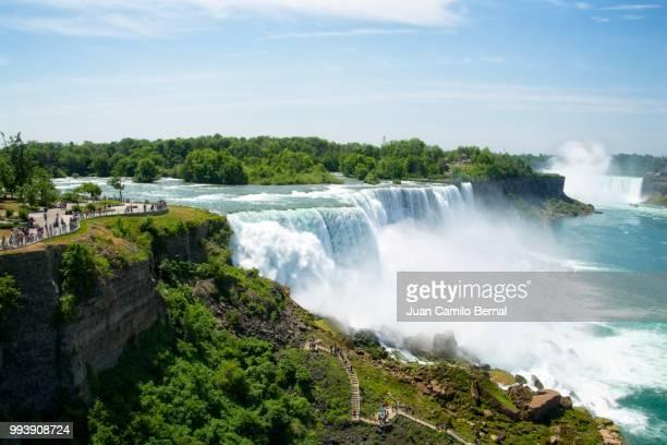 American Falls, Bridal Veil Falls and Horseshoe Falls in Niagara Falls seen from the Niagara Falls Observation Tower